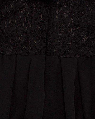 Femme Robe Longue Dentelle Sans Manche Robe Col en V Elégante Maxi Robe Swing Robe de Soirée Noir