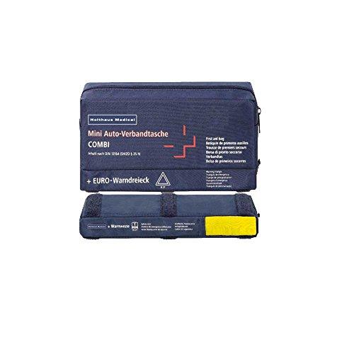 Auto-Verbandtasche, DIN 13164 Warndreieck Warnweste KFZ Kombitasche, Erste Hilfe