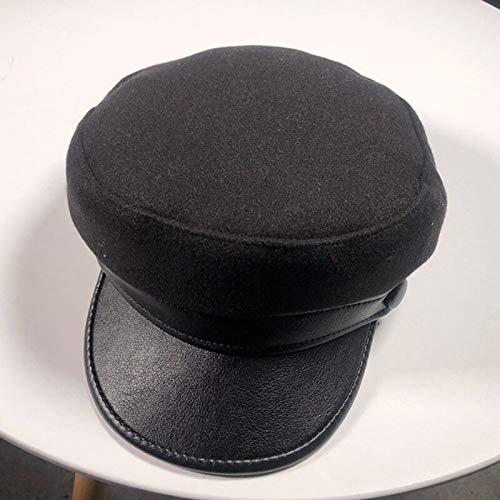 Imagen de sggsgg  militares para hombres y mujeres, boina plana para niño, boina de lana, boina de cuero, borde de marinero,  de capitán