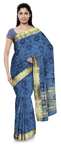 Neelam Sarees Women's Pure Banarasi Silk Saree (Blue)