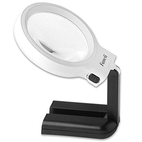 Fancii 10 LED Licht Beleuchtete Lupe mit Ständer, 2X 4X Große Leselupe Tischlupe...