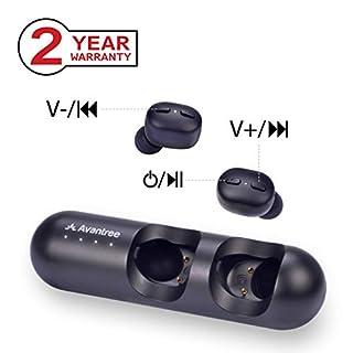 Avantree TWS110 Bluetooth 5.0 Kopfhörer Kabellose mit Lautstärkeregler, Auto Pairing, Siri, Google Assistant Sprachsteuerung, TWS True Wireless In Ear Stereo Ohrhörer Headset, 28 Std. mit Lade-Hülle
