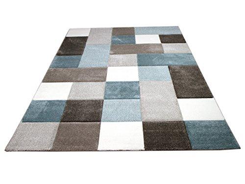 Maui Designer Teppich Pastell Blau Beige Karo in 4 Größen (Blau Und Braun-teppiche)