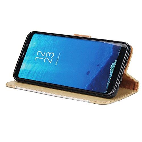 Dual Color Matching Premium PU Leder Flip Stand Case Cover mit Card Cash Slots und Lanyard für Samsung Galaxy S8 ( Color : White ) White