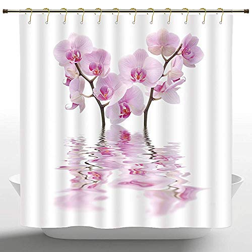 wanshangcheng Unique Shower Curtain Apartment Decor Wild Orchids with Mirroring Features in Water Aromatic Bouquet Floral Plant Concept White Pink Bathroom Decor Set with Hooks 60 X 72 in 66x72 inch