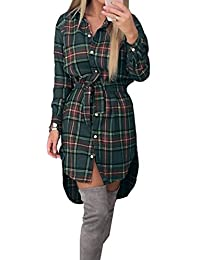 Yying Damen Kleid Langarm Sexy Oversize Hemdkleid Kariert Longshirt  Blusenkleid Cardigan Top Shirtkleid Frauen Casual Kleid 2483df4001