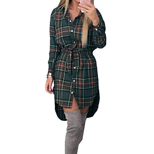 Frauen Klassisch Kariertes Hemd - 2017 Herbst Mode Stil Langarm Hemd Slim Fit Minikleid Lässige Blusen Tops T-Shirts