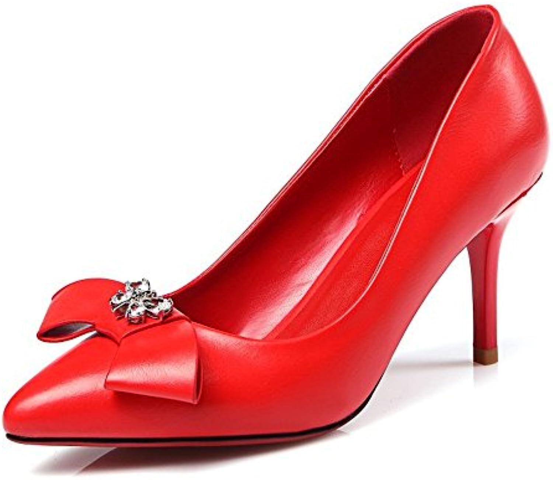 TYAW-Chaussures Femmes Fait Talons en Cuir Couleur Solide Fait Femmes Bouche Peu Profonde Décoration MétalB078V32G2YParent 4a9103