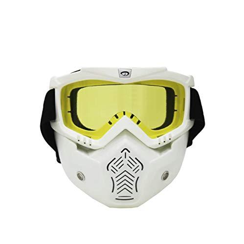 KnBoB Ski Maske Weiß Motorradbrillen Brillenträger Schneemaske Damen Weiß Gelb