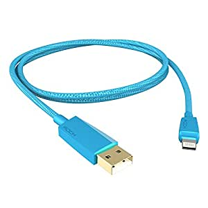 ROCK MFI Certified Lightning 8pin to USB Charge Data Sync Cable for iPhone iPad iPod Blue