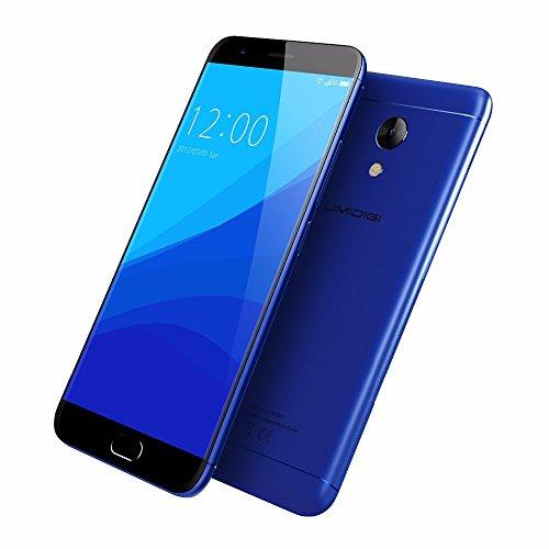Smartphone Libre,UMIDIGI C2 telefonos moviles libres-5 Pulgadas con Pantalla HD-Procesador Octa-Core 1.5GHz MTK6750T-Dual Cámara 5MP+13MP--4GB RAM + 64GB ROM-Dual SIM 4G-4000mAh-Full Metal Design-UMI OS (Azul)