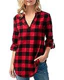 Kyerivs Damen V-Ausschnitt Beiläufig Lose Shirt Oberteile Elegant Sexy Langarmshirt Kariert Hemd Tops Einstellbare Ärmeln (A-schwarz rot, M)