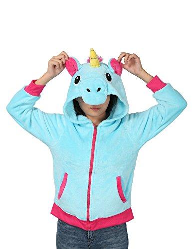 Preisvergleich Produktbild Einhorn Kostüm Jacke Kapuzenpullover Pyjama Sweatshirt Tieroutfit Hoodies Reißverschluss mit Kapuze Tier Cosplay Halloween - Très Chic Mailanda (XL, Blau)