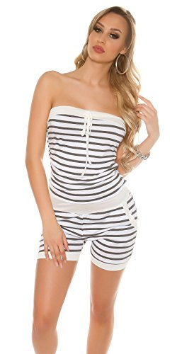 Damen Bandeau Jersey Shorts Hotpants Sommeroverall Overall Jumpsuit Playsuit im Marine-Look gestreift Grau