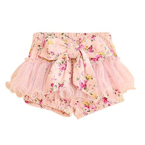 Minetom Blumendruck Bowknot Shorts Mesh Shorts Culottes Kindermädchen Rock Mini Tüllrock Tütü Petticoat Ballettrock ( Pink 116-122 ( 5-6 year ) ) (Mesh-mädchen-shorts)