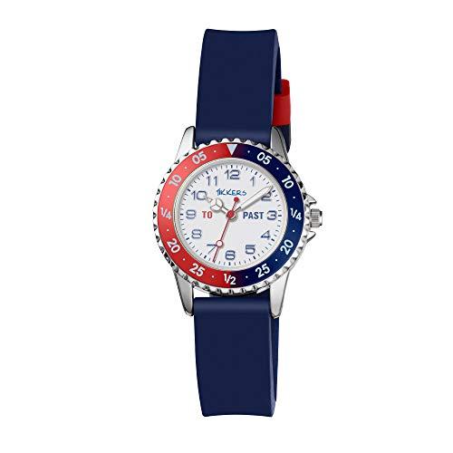 Tikkers Boy-Reloj de Cuarzo con Esfera analógica Blanca y Azul Correa de Silicona TK0140