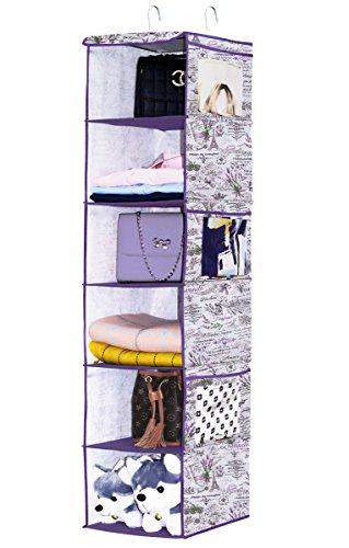 Homyfort organizer armadio con 6 scomparti, pieghevoli mensole pensili bagagli, armadio da appendere per la cameretta dei bambini, 30 x 30 x 120 cm, colore: lavanda, xlvx6cp