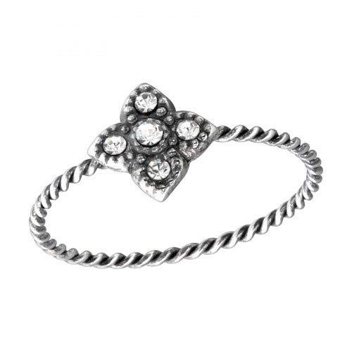 Anillo plata ley 925 diamantes imitación auténticos