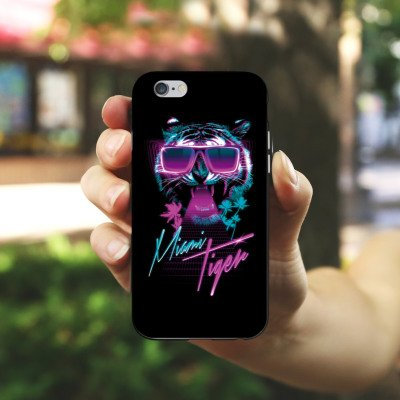 Apple iPhone X Silikon Hülle Case Schutzhülle Miami Tiger Sonnenbrille Silikon Case schwarz / weiß