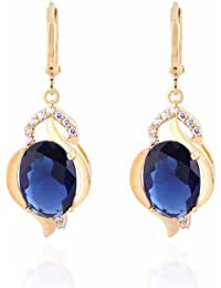 YAZILIND Charming Smooth Gold Plated Inlay Oval Sea Blue Cubic Zirconia Dangle Drop Earrings for Women