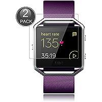 E-Hamii [2-Pack] Fitbit Blaze Protector de Pantalla, 0.26mm HD Anti-Scratch y Anti-huella digital Proteger la película, 9H Vidrio templado Cubierta protectora, Mejor protección