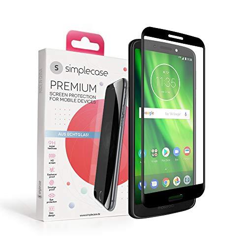 Simplecase Panzerglas passend zu Motorola Moto G6 Plus , FULL SCREEN Premium Bildschirmschutz , 100% Abdeckung , Optimaler Schutz , Extra Härtegrad 9H , Schwarz - 1 Stück