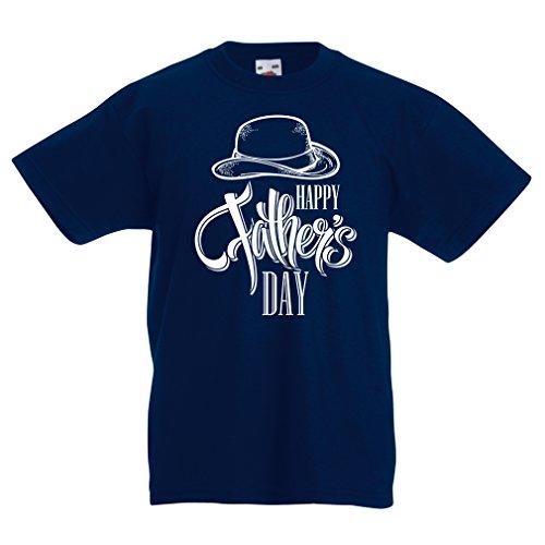 Kinder T-Shirt Glücklicher Vatertag - bestes Geschenk von Sohn oder Tochter (14-15 years Dunkelblau Mehrfarben)