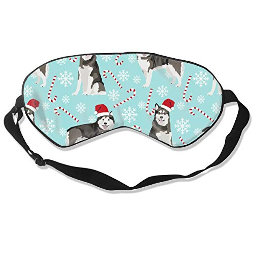 Alaskan Malamute Dog Breed Christmas Pepper Stick Breathable Pure Silk Sleep Eye Mask Best Sleeping Eye Cover for Travel, Nap, Blindfold with Adjustable Strap for Men, Women or Kids - Pure Care Cover Stick