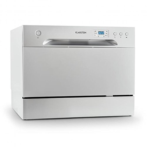 Klarstein Amazonia 6 Table Dishwasher • Class A+ • 1380 W • 6 Place Settings • 49 dB • Energy Efficient Design • Low Noise Level • Includes Cutlery Basket Extra Support and Aquastop • Door with Handle • Easy to Clean • Silver