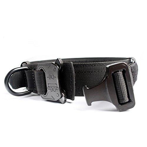 yisibo Tactical Hundehalsband Schnellverschluss-Trainingskragen mit Metallverschluss und Kontrollgriff für mittelgroße Hunde(X-Groß, Schwarz)