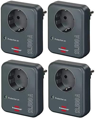 Brennenstuhl Steckdosenadapter (mit Überspannungsschutz 13.500 A, Adapter als Blitzschutz für Elektrogeräte) anthrazit (4 Stück)