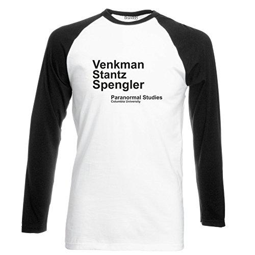 Brand88 - Venkman Stantz Spengler, Ghostbusters inspired, Langarm Baseball T-Shirt Weiss & Schwarz