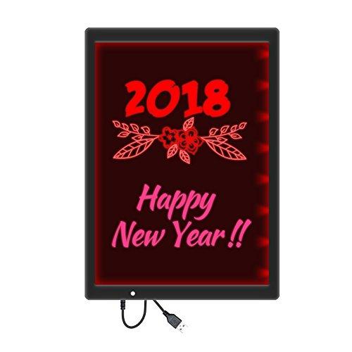 2 in 1 LED Fluoreszierende Reißbrett, LED Nachrichtenbrett Multi Farbe Schreiben Malerei Zeichnung Pad Löschbar für Kindern Weihnachtsfeier Hochzeit Bar Kantine Restaurant 12,8