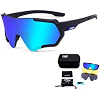 TOPTETN Gafas de Sol Deportivas polarizadas Protección UV400 Gafas de Ciclismo con 3 Lentes Intercambiables para Ciclismo, béisbol, Pesca, esquí, Funcionamiento (Negro y azul)
