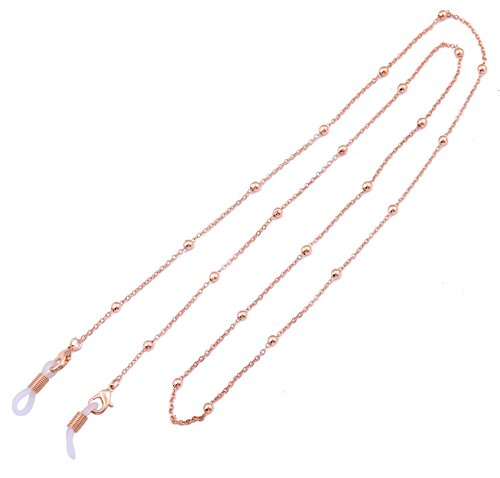 LIKGREAT Schlüsselanhängerform Ketten Frauen Perlen Lesebrille Bindekordeln Sonnenbrille Gurt Rose Gold, White Connector