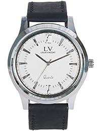 Louis Vincent Analog White Dial Black Strap Mens Watch