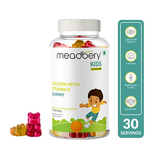 Meadbery Calcium With Vitamin D, Gummy Bears for Children with Minerals and Vitamin D, Calcium & Phosphorus - 100% Gluten Free Formula - Proper and Internal Growth - 30 Gummies