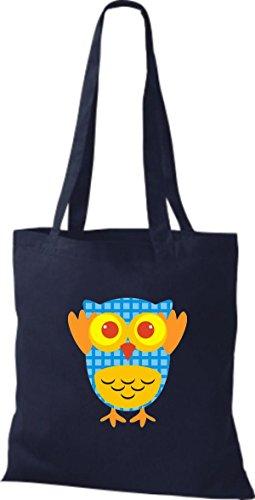 ShirtInStyle Jute Stoffbeutel Bunte Eule niedliche Tragetasche mit Punkte Owl Retro diverse Farbe, blau blau