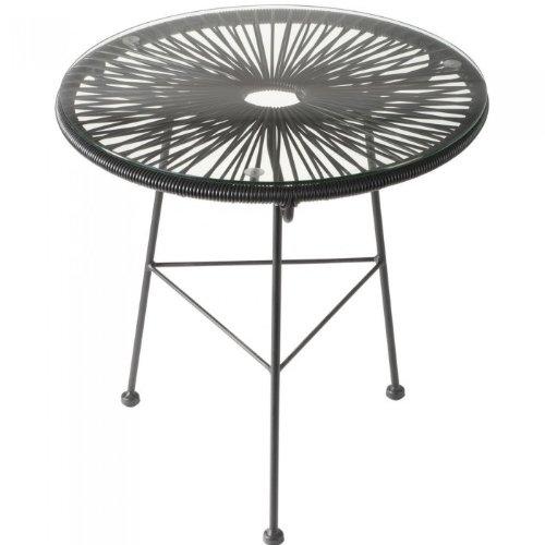 La chaise longue - 32-M1-023N - Table basse Acapulco en acier avec cordage plastique et plateau en verre - Noire