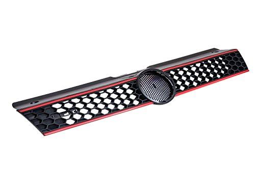 Kühler- Sport- Front- Rippen- Grill ohne Emblem Schwarz rote Streifen Eintragungsfrei