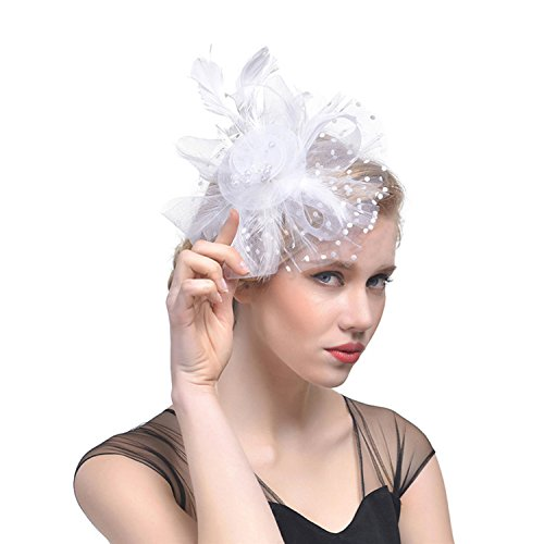 Fascinator Hüte mit Feder Blumen Haar Clip Haarreif Haar Accessoire Netz-Mütze Schleier Cocktail Tea Party Hochzeit Kirche Haarschmuck Kopfschmuck Kopfbedeckung für Mädchen und Frauen, Weiß, M