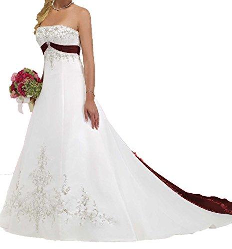 O.D.W Handgefertigt Damen Gestickt Lange Vintage Hochzeitskleider A-Linie Gotisch Mehrfarbig Brautkleider (Weiß+Burgund, 46)