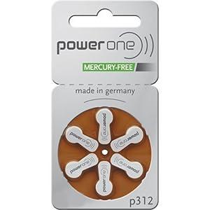 Powerone Mercury Free Hearing Aid Batteries Size 312 60 Batteries