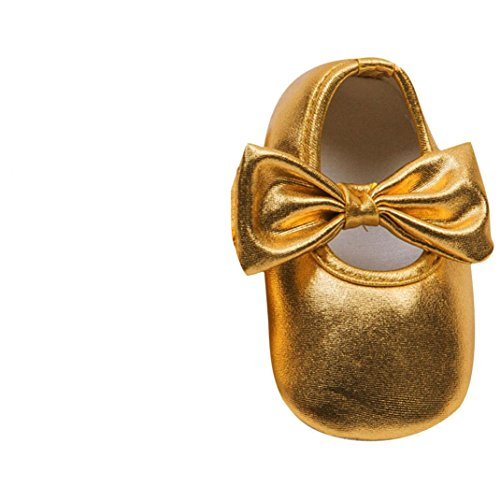 Saingace Toddler Prewalker Souple Semelle Antidérapante Bowknot Chaussures (13, Or) Or
