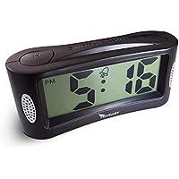 Digital Alarm Clock - Battery Operated, No Frills Simple Operation Bedside Alarm Clocks, Big Bold Digits, Loud Alarm, Snooze, Adjustable Back-light, Black