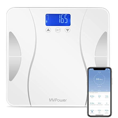 MVPOWER Digitale Körperfettwaage, Bluetooth Personenwaage mit APP und 4 hochpräzisen Sensoren, Körperwaage für Körperfett, BMI, Proteinmenge, Muskelgewicht usw, bis 180 kg