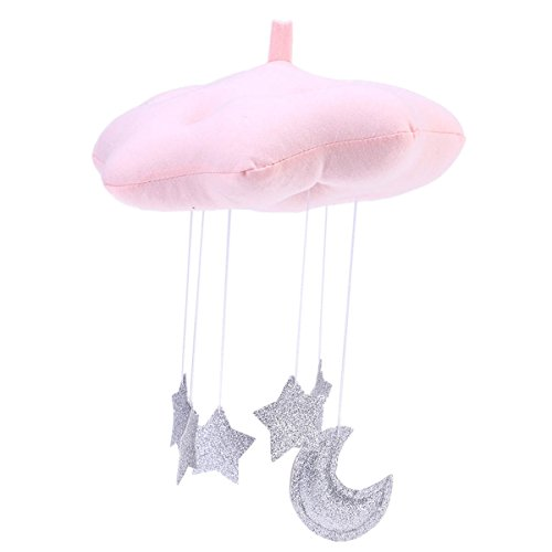 Amosfun Cloud Star Hanging Ornament DIY Pendant for Baby Shower Kids Room Decoration(Pink Clouds and Silver Stars)