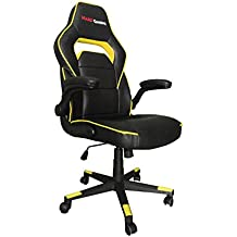 Mars Gaming MGC117BY - Silla gaming profesional con ruedas (inclinación y altura regulables, inclinación 15 grados, reposacabezas acolchado, reposabrazos abatibles y acolchados, ergonómica), amarillo