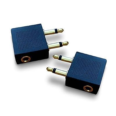 Adaptateurs d'écouteurs pour Avion Plaqués Or (Pack de 2) | Vous Permet d'utiliser vos écouteurs avec Tous les Systèmes Multimédia en Vol | Ce Convertisseur permet un son Très bon sur Tous les Avions par Lock Sourcing Ltd