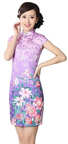 Bigood Qipao Traditionnel Femme Robe Fendue Latéral Cheongsam Fleur Style C
